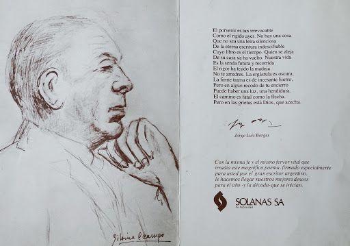 Jorge Luis Borges retratado por Silvina Ocampo