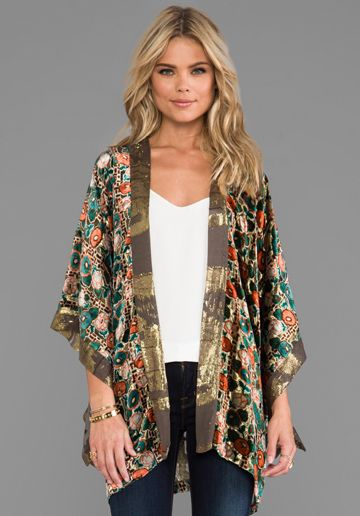 ANNA SUI Klimt Print Burnout Metallic Stripe Velvet and Metallic Chiffon Clip Jacquard Open Cardigan in Gold Multi-good golly