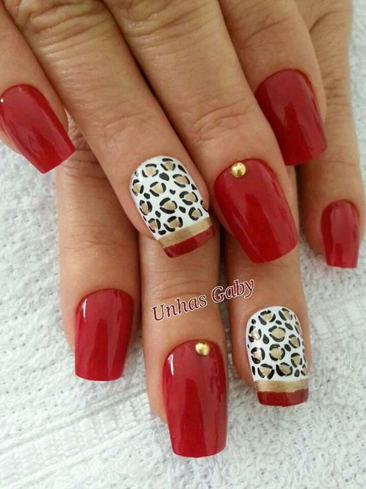 uñas rojo, animal print