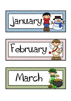 THEMED MONTHS OF THE YEAR FLASHCARDS AND HEADERS (CHEVRON BACKGROUND) - TeachersPayTeachers.com