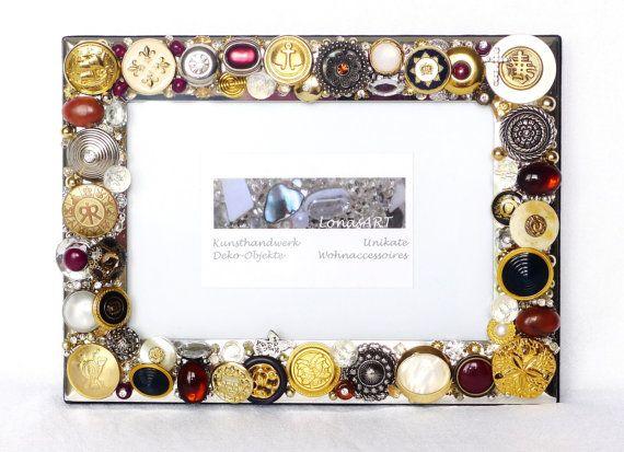 Bilderrahmen mit Schmuck Knöpfen Anhängern gold silber von LonasART