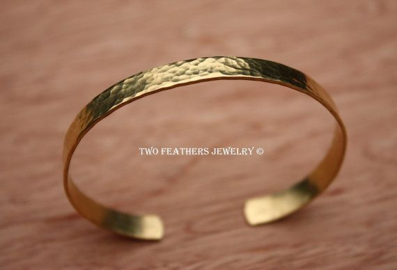 Hammered Brass Cuff Bracelet  Gold Brass door TwoFeathersJewelry