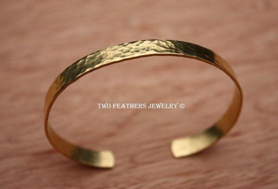 Hammered Brass Cuff Bracelet  Gold Brass door TwoFeathersJewelry