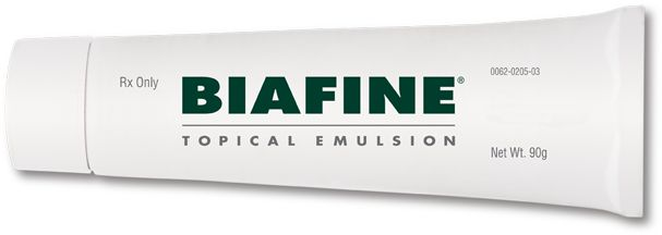 BIAFINE is a topical, water-based emulsion that helps damaged skin heal and helps manage wounds, burns, and other skin abrasions 1 . It is used for the dressing and management of: Wounds Pressure sores Leg ulcers 1st and 2nd degree burns including sunburns Donor and graft sites Skin reactions to radiation therapy Minor scrapes