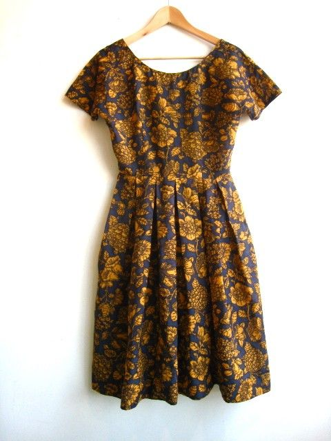 Vintage 50's 60's Dress..Navy and Gold Floral by VacationVintage