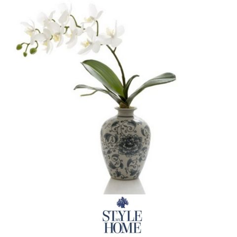 Oriental Ginger Jar with White Orchid