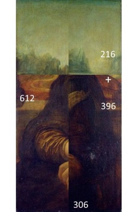 Folded Mona Lisa matches with the dimensions of the Golden Ratio. Also the horizon lines are now in the crucial points.