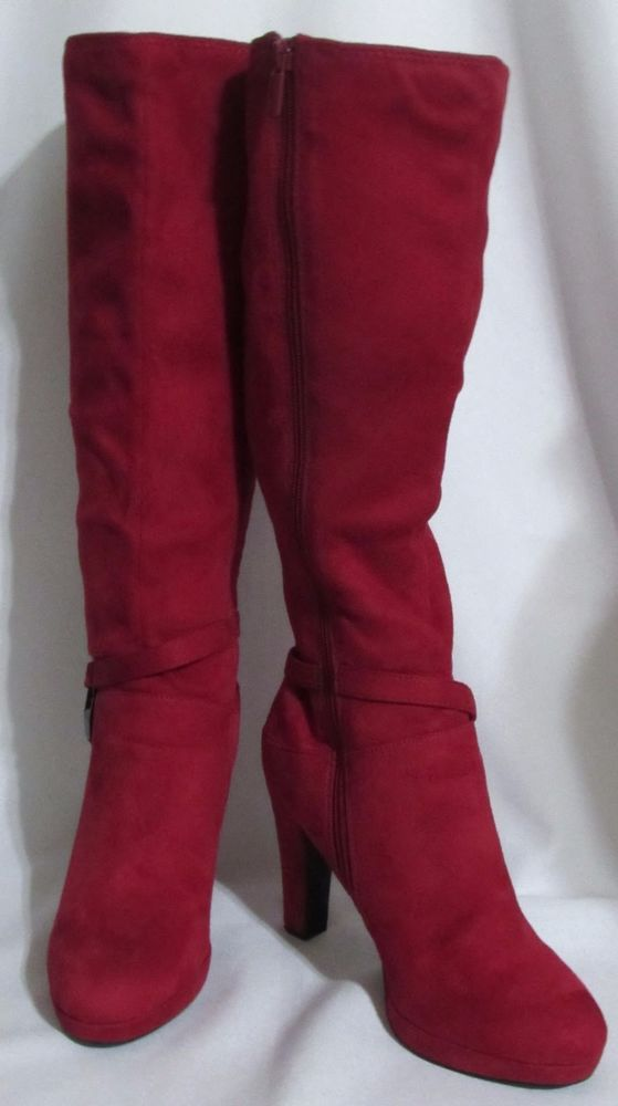 Womens Ladies COACH AND FOUR Red Tall Faux Stretch Suede Zip High Hell Boots 8 M #COACHANDFOUR #KneeHighBoots #Versatile