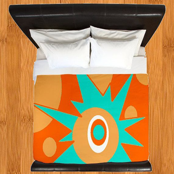 Modern Duvet Cover,Modern Bedding, Duvet Cover, Retro Duvet Cover,Atomic Duvet Cover, Mid Century Modern Duvet Cover, Orange Duvet Cover