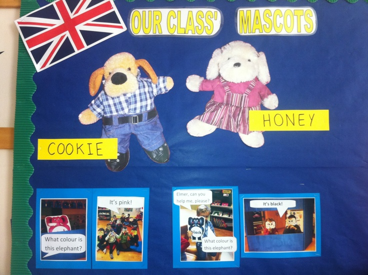 Our Class Mascots. They travel each week end with a different pupil (one in each class) along with their Memory book. Always a special time to share!!