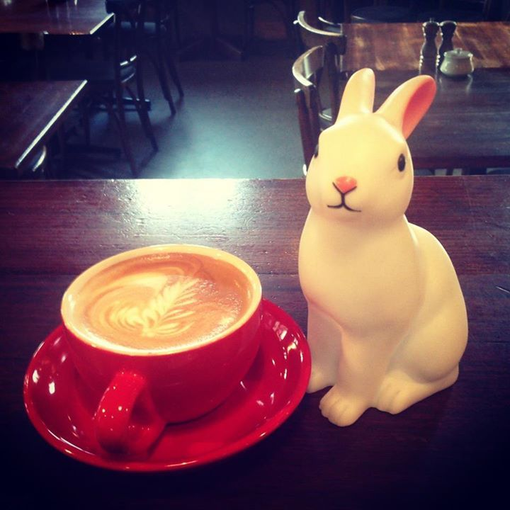 Coffee at the White Rabbit Restaurant, Brighton, Melbourne.