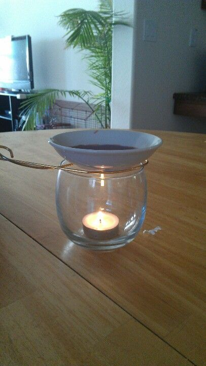 """Simple diy scented wax warmer. 3oz plate, a spare piece of thick gauge wire bent into almost a fish shape, 1 unscented tea light candle, & a small glass. Use one 1""""x1"""" wax brick."""