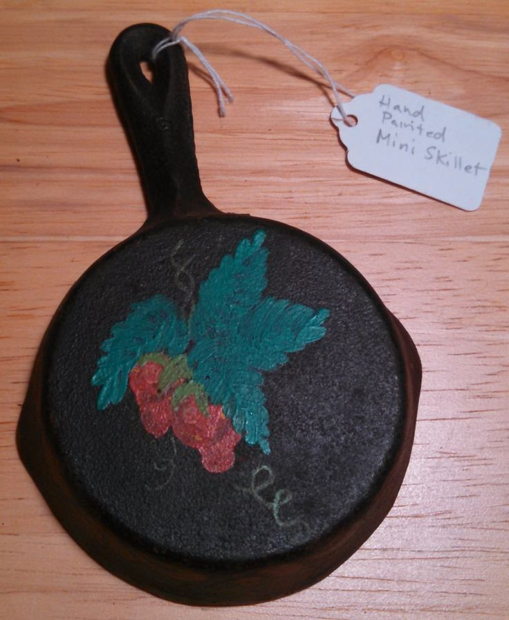 """Vintage Mini Skillet - Hand Painted - Early 1900's - 4"""" Frying pan total of 6"""" with handle. Solid cast iron."""