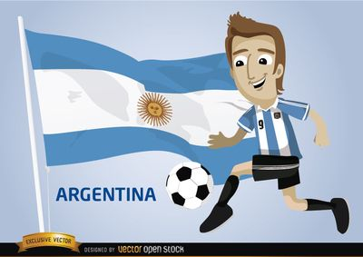 Cartoon character wearing uniform of Argentina football team, kicking a soccer ball, there is an Argentinean flag behind. Perfect image for fans of the team to use in promos for Brazil 2014 FIFA World Cup. Under Commons 3.0. Attribution License.