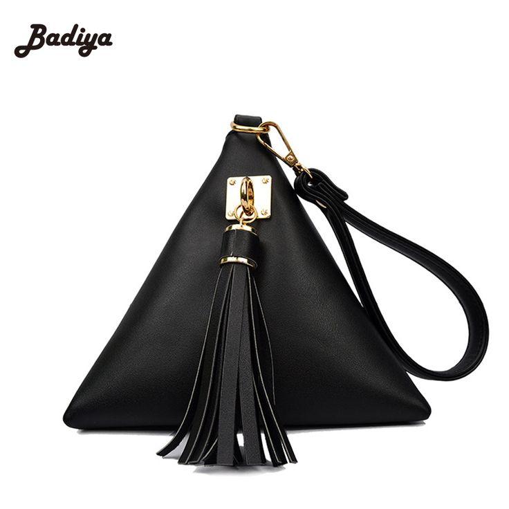 2016 New Fashion Triangle Shape Day Clutch Women Evening Bag PU Leather Wristlet Purses Tassel Small Handbags Herald