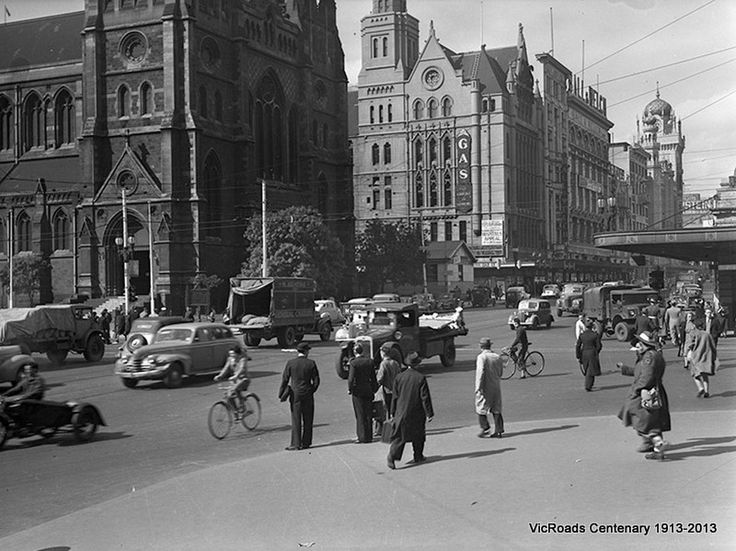Traffic at Flinders & Swanston Street intersection, Melbourne, Victoria 1947. VicRoads Centenary 1913-2013.