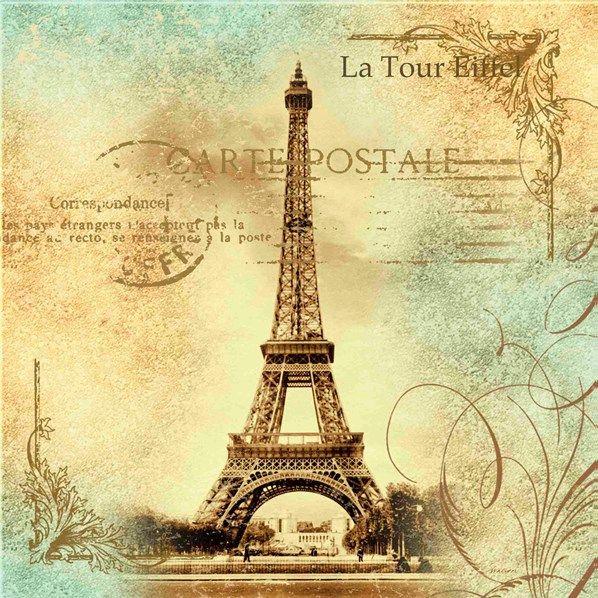 Paris, Eiffel Tower, postmark, on blue/beige scroll background.