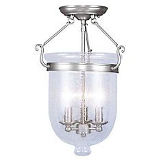 Providence 3 Light Brushed Nickel Incandescent Semi Flush Mount with Seeded…