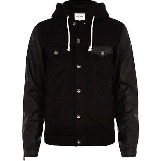 Black PU sleeve hooded denim jacket