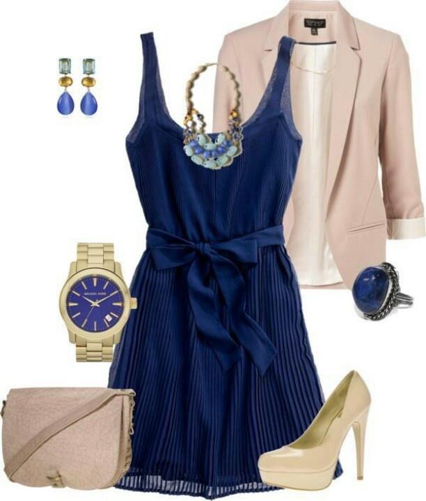 Vestido Azul Saco Y Accesorios Beig   Moda   Pinterest