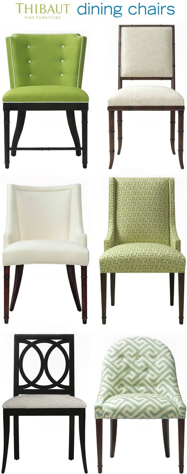"Dining Chairs from Thibaut Furniture (© 2012); featuring the ""Stirling,"" ""Darien,"" ""Palisades,"" ""Hudson,"" ""Carlyle,"" and ""Melrose"" models."