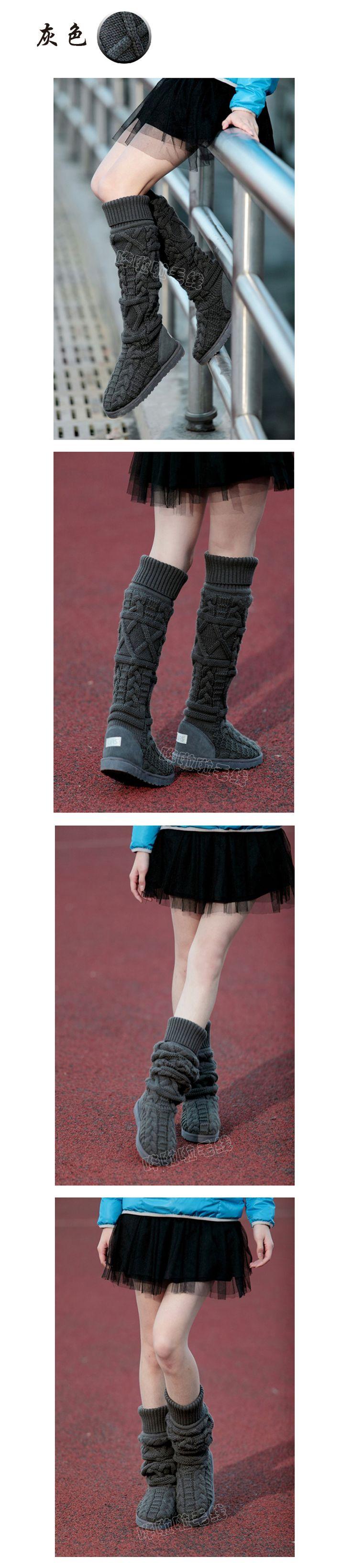 Зима женщины сапоги за шерсть пряжа обувь трикотаж снег загрузки леди колено высокая сапоги в белый черный кофе серый купить на AliExpress