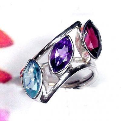 Garnet Ring, Amethyst Ring, Blue Topaz Ring, Designer Ring, Handmade Stone Ring by www.cosmocrafter.com