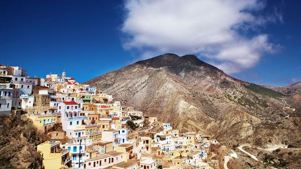 Island-hop across the Aegean, from the natural wonders of Karpathos to the holy sites of Patmos. The village of Olympos sits high on a hill on Karpathos. (Matt Munro)