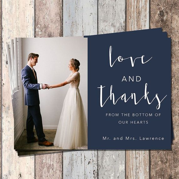 Wedding Thank You Card-Wedding-Bridal-Thank You Card-PIY-Printable-Customizable-Custom Colors-Mailable Card-Love and Thanks
