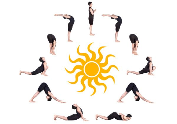 Belly Fat Burning Sequence: Mountain Pose, Sun Salutation, Standing Forward Bend, Seated Forward Bend, Wind Relieving Pose, Boat, Camel, Raised Foot Pose, Cat/Cow, Cobra, Bow, Corpse Pose