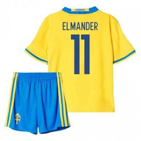 Sverige Trøje Børn 2016 #Elmander 11 Hjemmebanesæt Kort ærmer.199,62KR.shirtshopservice@gmail.com