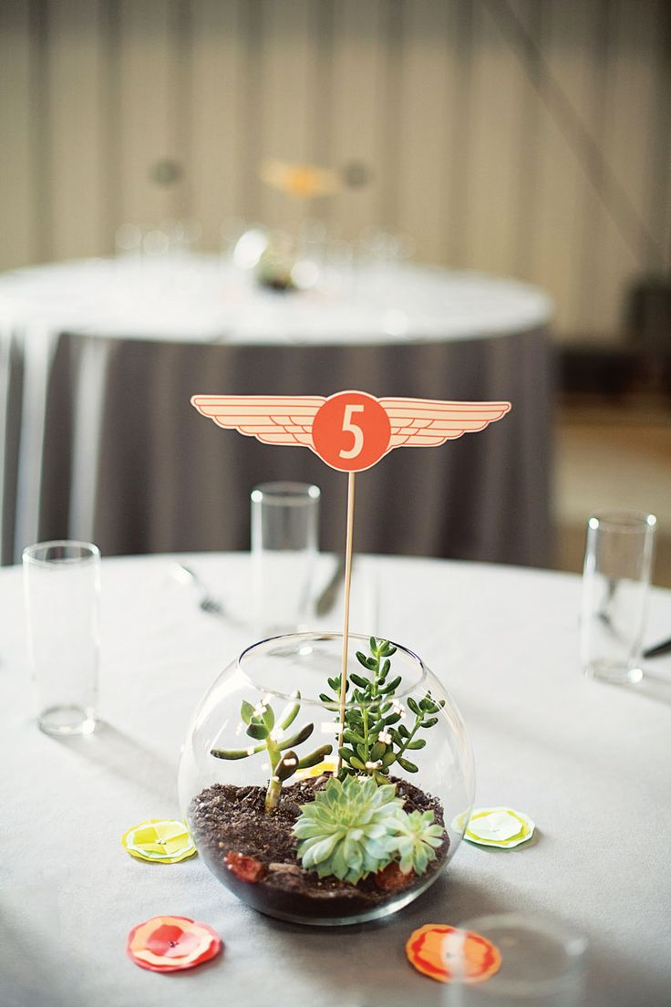 Aviation-themed table numbers placed in terrariums