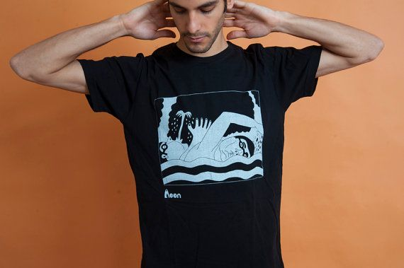 People in water Men's t-Shirt White on black by MoonTshirt