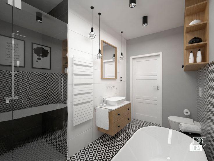 Projekt mieszkania 85m2 w Krakowie, styl eklektyczny, loftowy, wnętrze prywatne; Łazienka