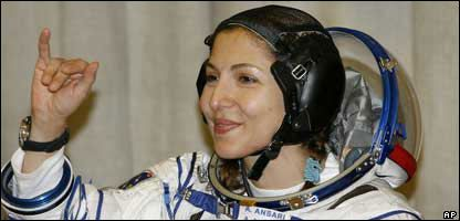 It was blast-off for the first woman to go into space on holiday, as Anousheh Ansari shot into orbit on Monday. The millionaire US businesswoman was aboard a Russian rocket heading to the International Space Station, and paid over £10 million for the ride! Ms Ansari, whos the fourth ever space tourist, said she was looking forward to seeing the Earth from space. The trip will be more than just a relaxing float in space as shell also be doing research on back pain