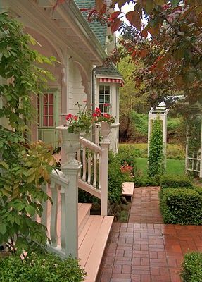 Love the brick patterned walkway from the porch steps to the arbor ~ nice boxwood border along the path ~ from Brambly: The Garden