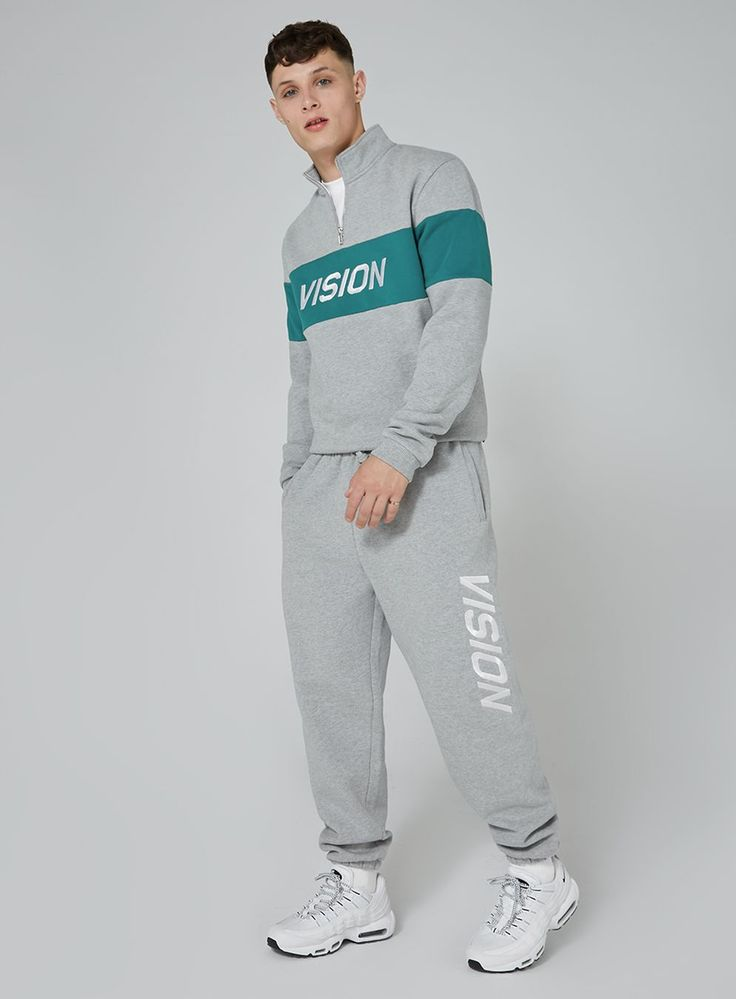 VISION STREET WEAR Grey And Teal Half Zip Track Top - Men's Hoodies & Sweatshirts - Clothing - TOPMAN