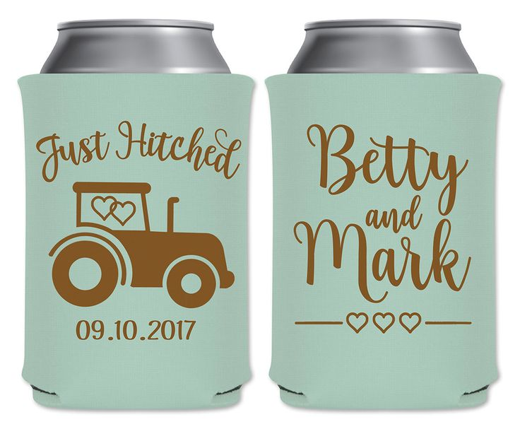 """Wedding Can Coolers Beverage Insulators Koozies Personalized Wedding Favors - Just Hitched Coozies by """"ThatWedShop"""" on Etsy   Funny Wedding Favors   Perfect For Rustic Weddings   Barn Weddings   Country Weddings   Farm Weddings #ThatWeddingShop"""