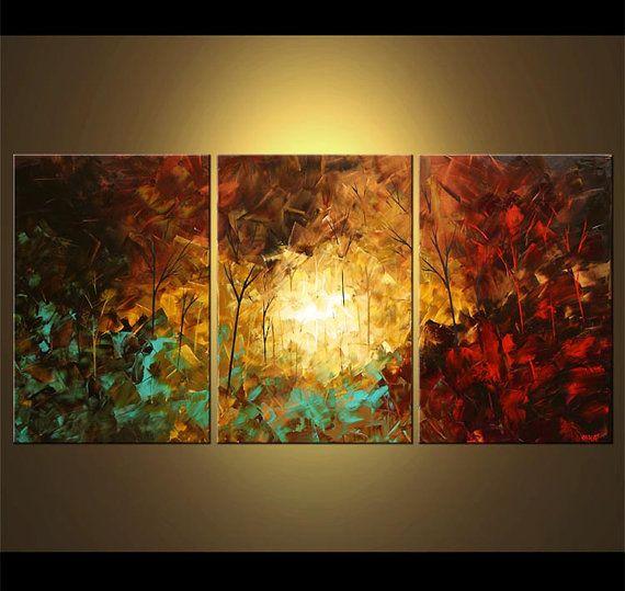 60 x 30 paisaje moderno abstracto firmado espátula por OsnatFineArt