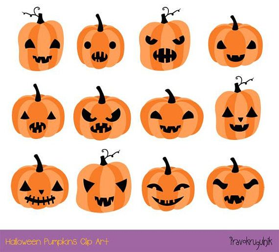 Halloween pumpkin clipart, Cute pumpkin face clip art set, Spooky Halloween clipart, Digital pumpkin head commercial use, jack o lantern