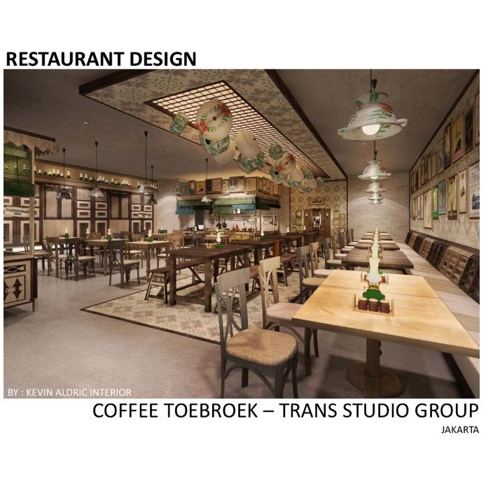 "Restaurant design ""Coffee Toebroek"" designed by Kevin Aldric Interior. Client : trans studio group. Inspired by indonesian traditional restaurant but it is interpreted in the modern way."