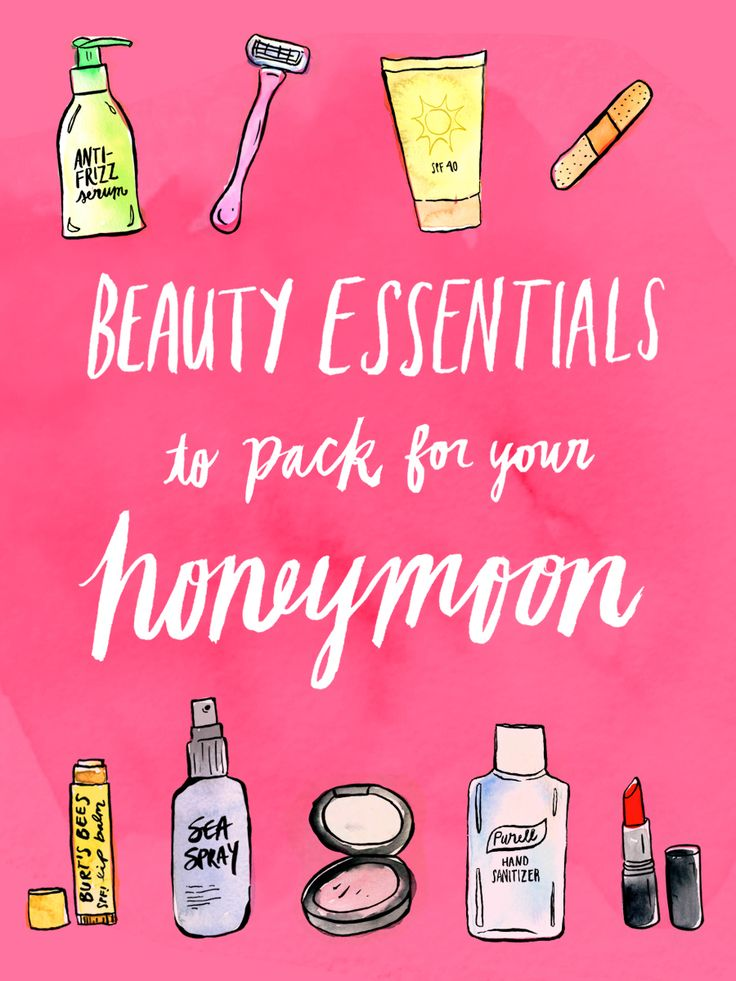 Not sure what essential beauty products to pack for your honeymoon? This guide breaks it down for you by location — one less thing to worry about before the wedding!