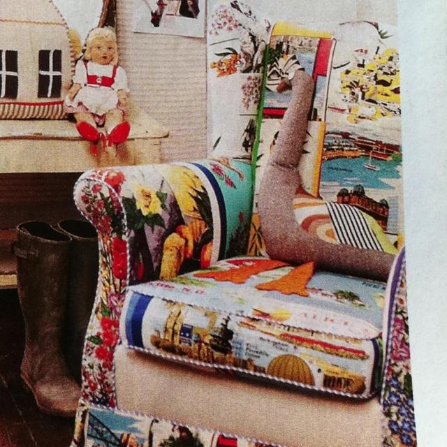 How cool is this chair?! Lee Mathews au designer had it re-upholstered in vintage teal towels