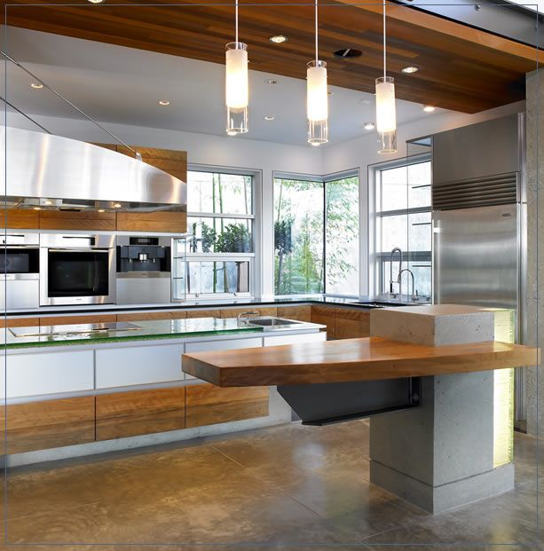 Nice kitchen featuring Dasal recessed trims in the ceiling. (Pendant's aren't ours, although we do carry a line of Pendants)