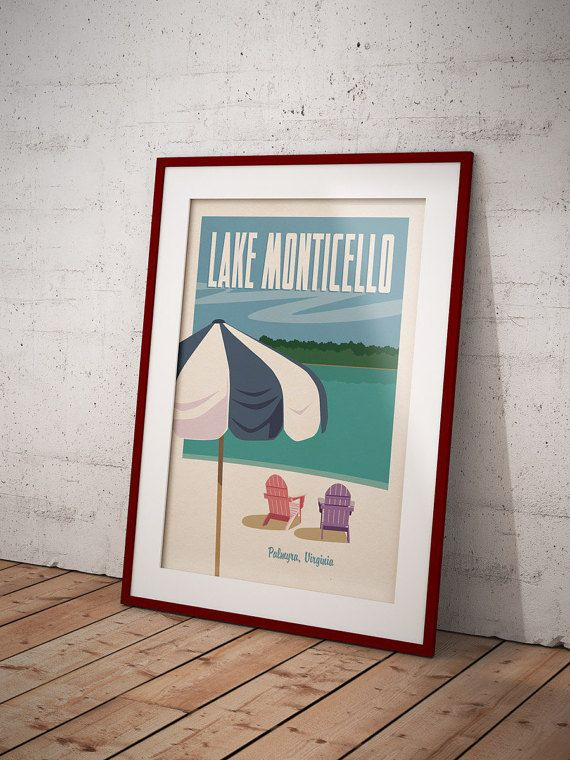 Lake Monticello Palmyra Virginia Retro Travel by SottongDesigns