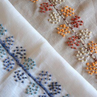 het linnen vogel | linnen Vogel | linnen Bird ding - Kolkata met de hand geborduurd linnen doek -