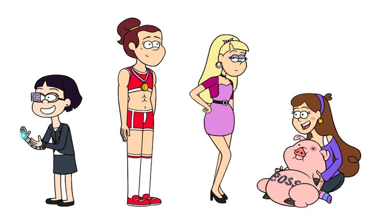 Gravity Falls Candy: Grown Up, Candy, Grenda, Pacifica, And Mabel + Waddles