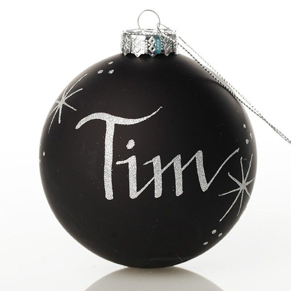 Black Glass Personalised Christmas Bauble - One Colour