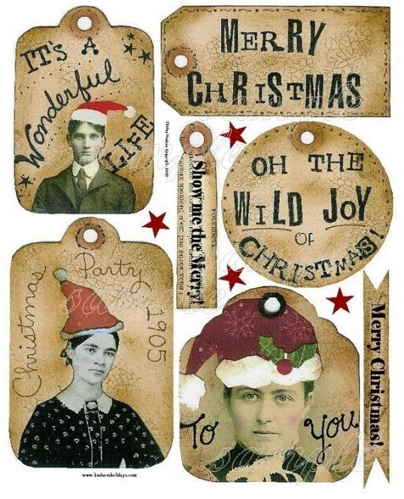 Old time CHRISTMAS Tags Collage art Sheet PDF -  old photos party label banner email digital santa