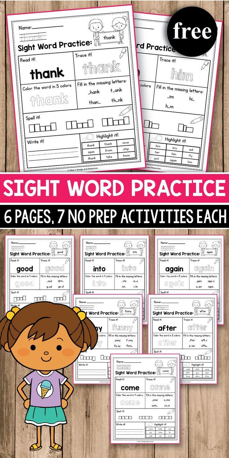 Sight Word Practice For Preschool Kindergarten First Grade Sight Word Worksheets And Act Sight Words Kindergarten Sight Word Practice Sight Word Activities [ 1472 x 736 Pixel ]